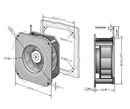 RG220-44/18/2TDO ebmpapst вентилятор чертеж