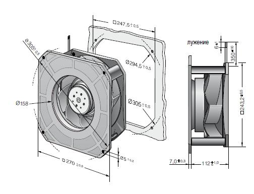 RG225-55/18/2TDMLO ebmpapst вентилятор чертеж