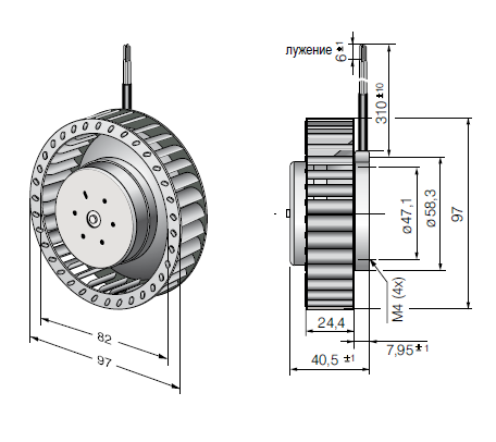 RET97-25/18/2TDP ebmpapst вентилятор чертеж