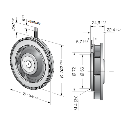 REF100-11/12 ebmpapst вентилятор чертеж