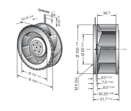 RER101-36/12NHH ebmpapst вентилятор чертеж
