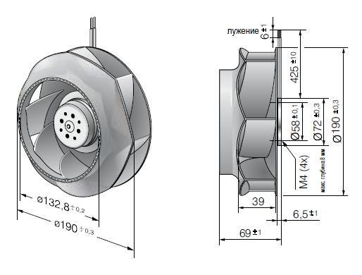 RER190-39/14/2TDMLO ebmpapst вентилятор чертеж