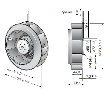 RER220-44/18/2TDP ebmpapst вентилятор чертеж
