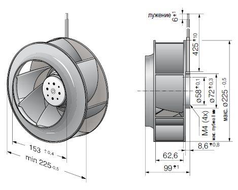 RER225-63/18/2TDMO ebmpapst вентилятор чертеж