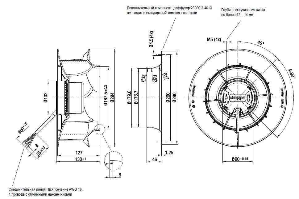 R3G280-RN30-01 ebmpapst вентилятор чертеж