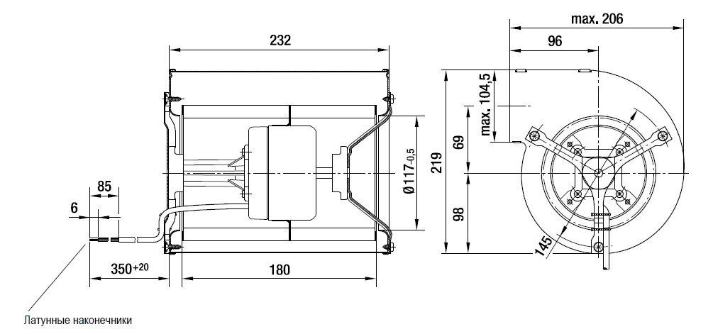 D1G146-AA19-52 ebmpapst вентилятор чертеж