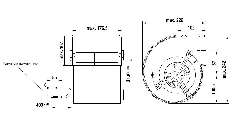 D1G160 ebmpapst вентилятор чертеж
