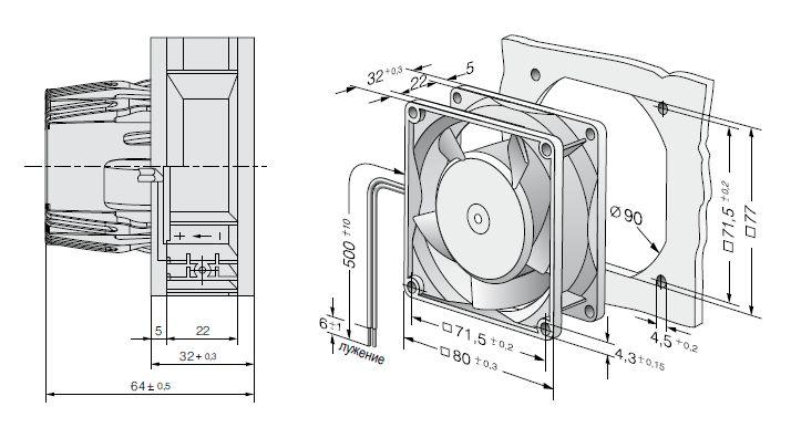AC8300H ebmpapst вентилятор чертеж