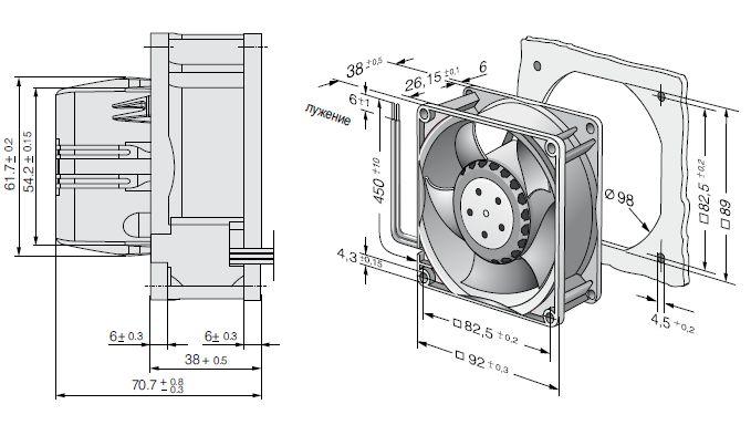 AC3200JH ebmpapst вентилятор чертеж