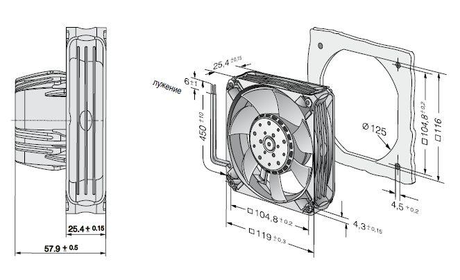 AC4400FNN ebmpapst вентилятор чертеж