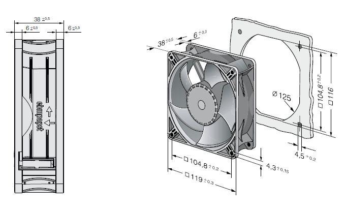 ACi4420N ebmpapst вентилятор чертеж