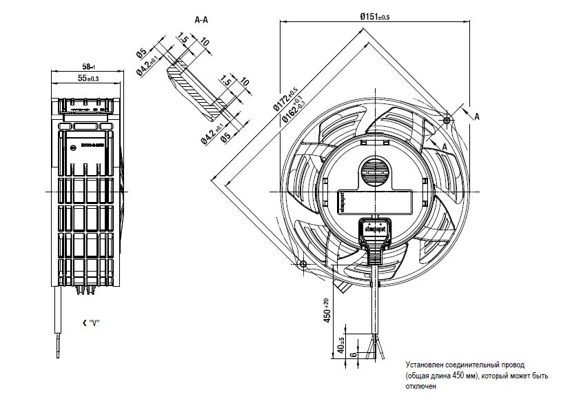 W1G130-AA25-01 ebmpapst вентилятор чертеж