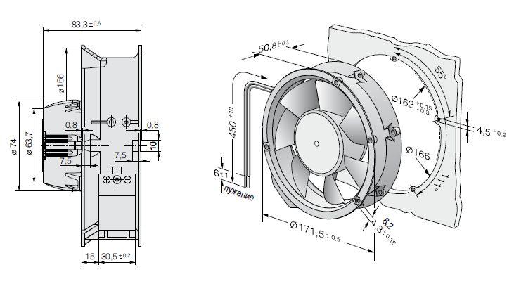AC6200NM ebmpapst вентилятор чертеж