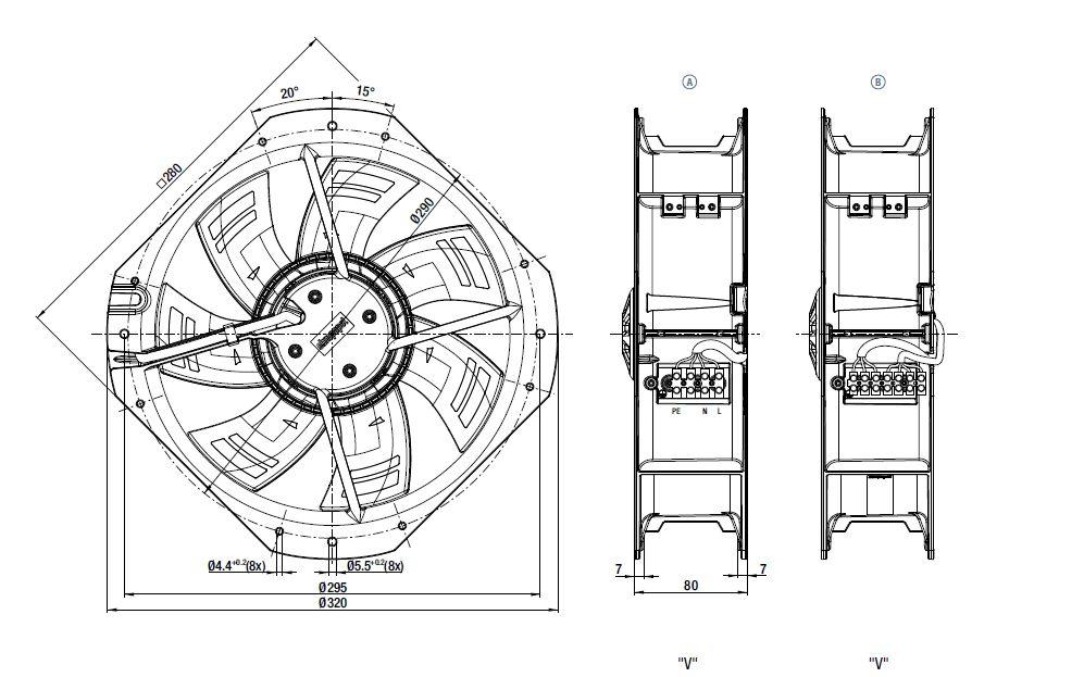 W3G250-HH07-01 ebmpapst вентилятор чертеж