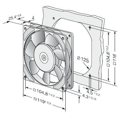 9906L ebmpapst вентилятор чертеж