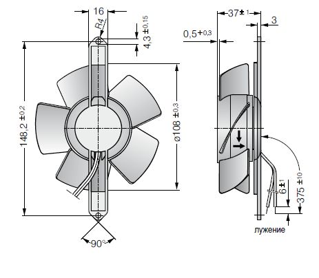 4606TZ ebmpapst вентилятор чертеж