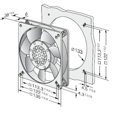 5656S ebmpapst вентилятор чертеж