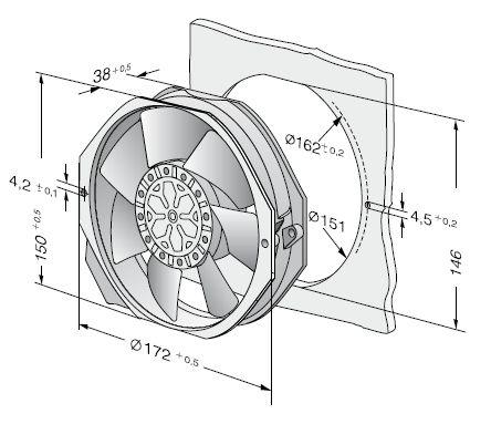 7056ES ebmpapst вентилятор чертеж