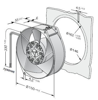 7450ES ebmpapst вентилятор чертеж