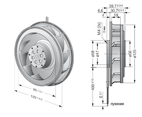RER125-19/56 ebmpapst вентилятор чертеж