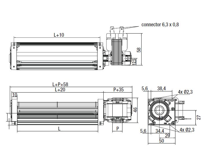 QL3/2500-2118 ebmpapst вентилятор чертеж