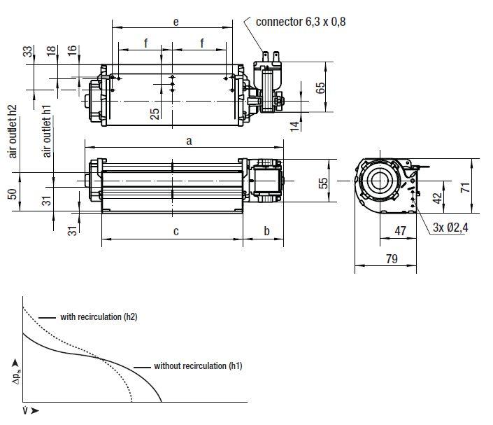 QLK45/1800-2518 ebmpapst вентилятор чертеж