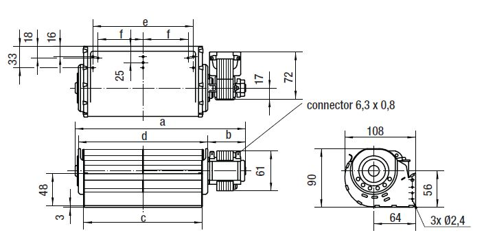 QLN65/1800-3025 ebmpapst вентилятор чертеж