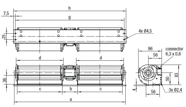 QLZ06/3030-3045 ebmpapst вентилятор чертеж