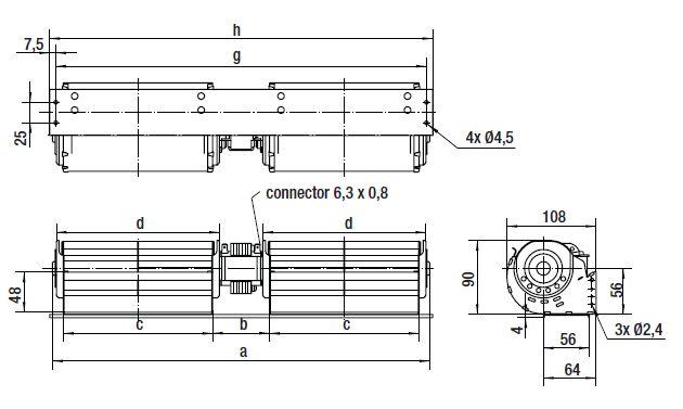 QLN65/2424-3038 ebmpapst вентилятор чертеж