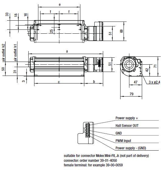 QLK45/3000-2212 ebmpapst вентилятор чертеж