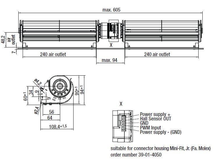 QLN65/2424-2212 ebmpapst вентилятор чертеж