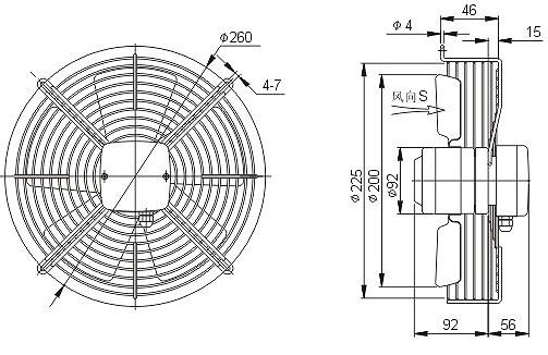 осевой вентилятор YWF4D-200 чертеж