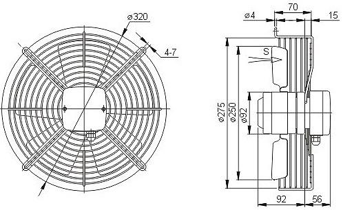 осевой вентилятор YWF4D-250 чертеж