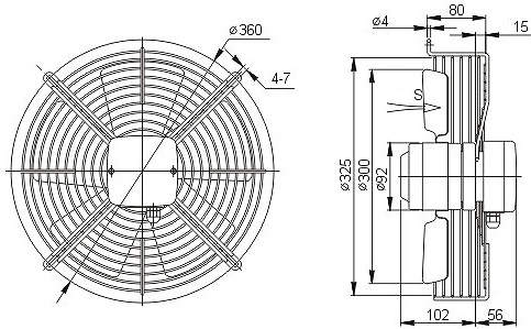 YWF 2D 300 осевой вентилятор чертеж