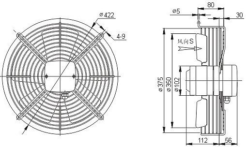 осевой вентилятор YWF4E-350 чертеж