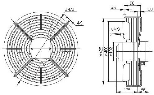 осевой вентилятор YWF 4D 400 с решеткой чертеж