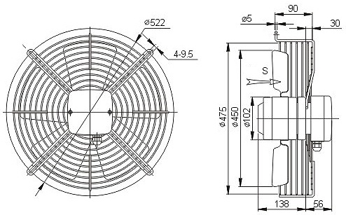осевой вентилятор YWF4E-450 чертеж