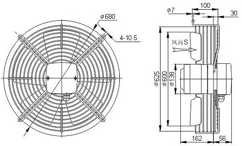 осевой вентилятор YWF4E-630 чертеж