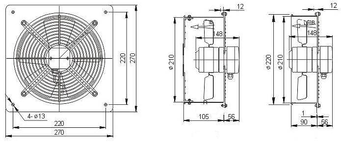 осевой вентилятор YWF2D-200 B диффузор чертеж
