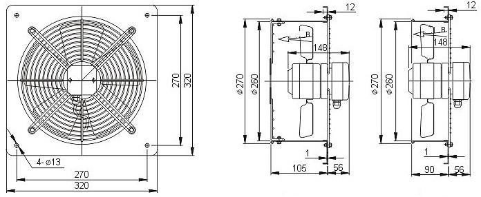 осевой вентилятор YWF4E-250B габаритные размеры