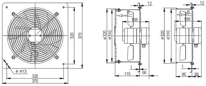 осевой вентилятор YWF4E-300B чертеж