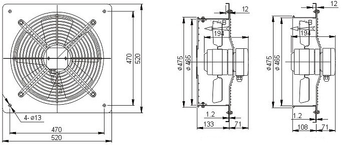 осевой вентилятор YWF4E-450B настенная панель чертеж