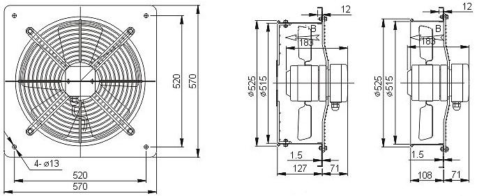 осевой вентилятор YWF4E-500B настенная панель чертеж