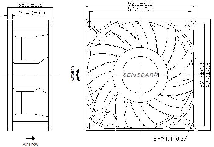 SG9238M2B Sensdar вентилятор чертеж