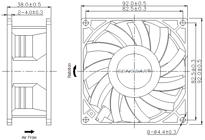 SG9238H4B Sensdar вентилятор чертеж