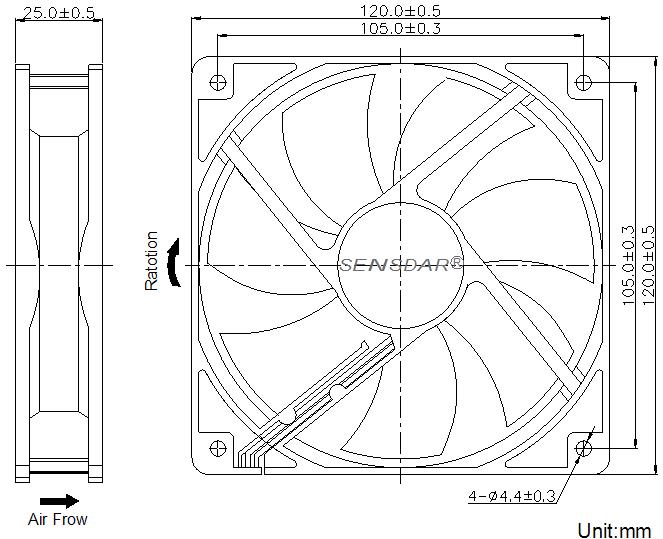 SD1225L4S Sensdar вентилятор чертеж