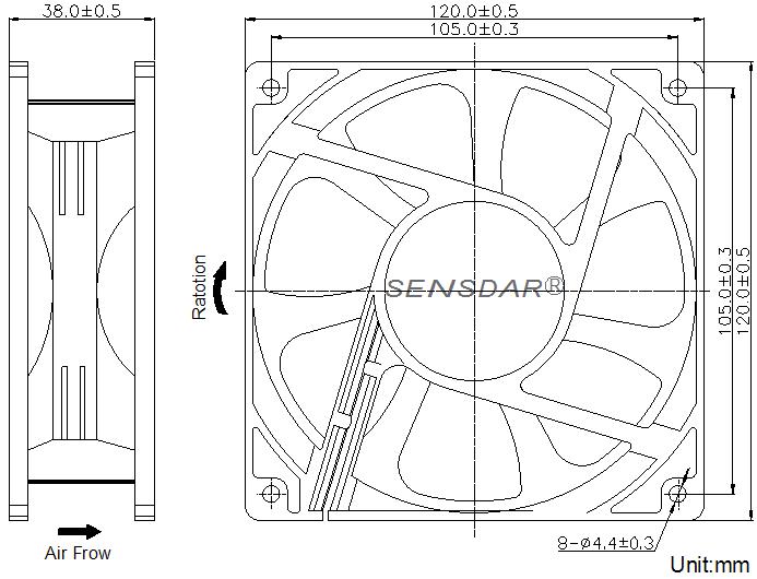 SD1238M1B Sensdar вентилятор чертеж