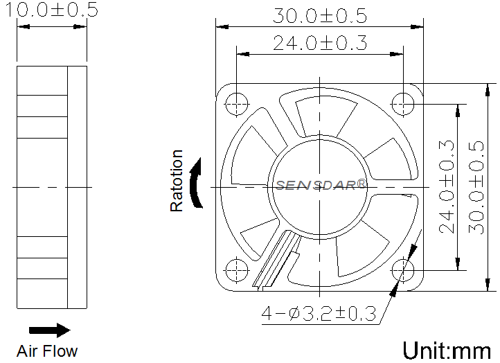 вентилятор компактный постоянного тока 30 30 10 мм sensdar чертеж