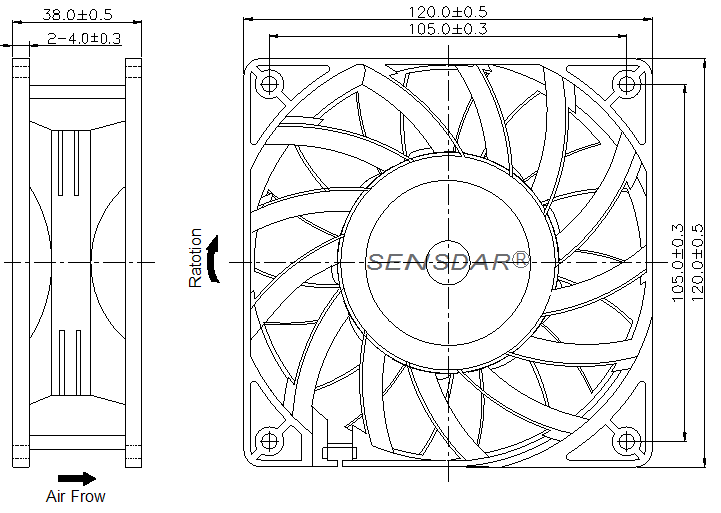 SG1238M1S Sensdar вентилятор чертеж