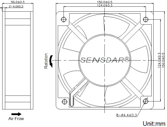 SD1551M2B-5 Sensdar вентилятор чертеж